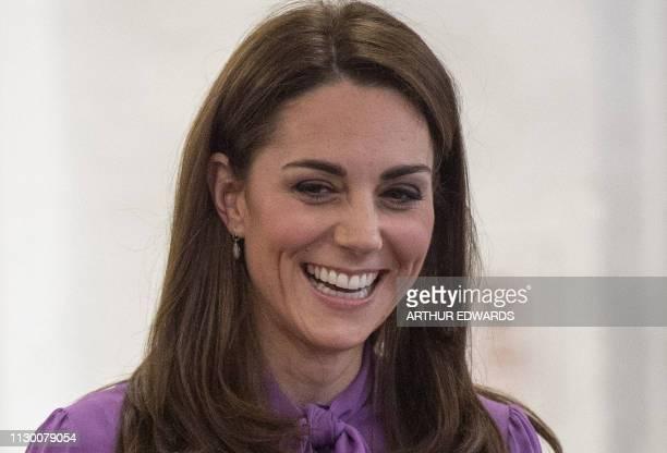 Britain's Catherine Duchess of Cambridge visits the Henry Fawcett Children's Centre in London on March 12 2019 The Duchess visited the Henry Fawcett...