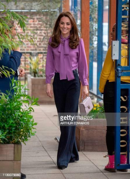 Britain's Catherine, Duchess of Cambridge visits the Henry Fawcett Children's Centre in London on March 12, 2019. - The Duchess visited the Henry...