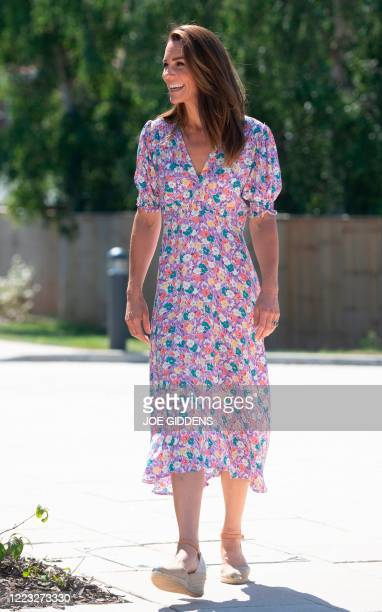 Britain's Catherine, Duchess of Cambridge, visits The Nook in the village of Framlingham Earl, south of Norwich, eastern England on June 25 which is...