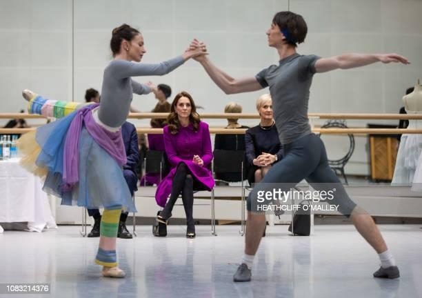 Britain's Catherine Duchess of Cambridge watches Royal Ballet Principal Dancers Lauren Cuthbertson and Vadim Muntagirov rehearsing the romantic...