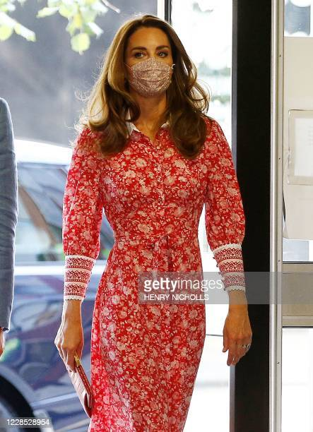 Britain's Catherine, Duchess of Cambridge wearing a protective face covering arrives at the London Bridge Jobcentre, in London on September 15, 2020....