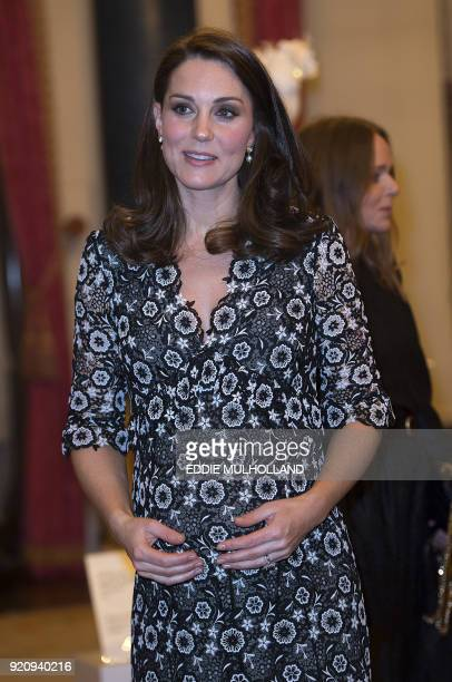 Britain's Catherine Duchess of Cambridge with Britain's Sophie Countess of Wessex hosts a reception to mark the creation of the Commonwealth Fashion...