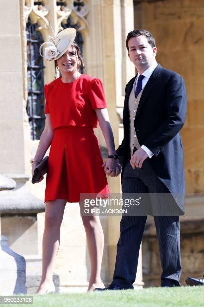 Britain's Catherine Duchess of Cambridge's former private secretary Rebecca Deacon and Gibraltarian footballer Adam Priestley arrive for the wedding...