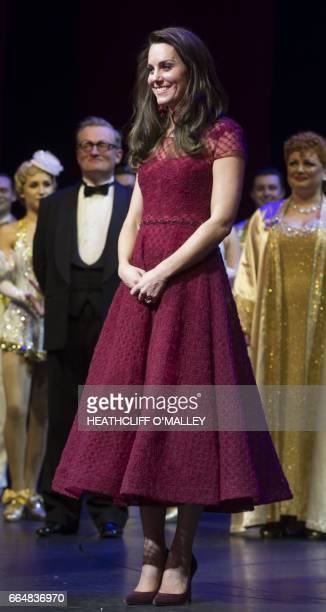 Britain's Catherine the Duchess of Cambridge attends the opening night of the musical 42nd Street at the Theatre Royal in London on April 4 2017 /...