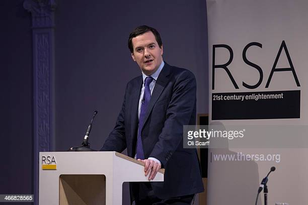 Britains Chancellor of the Exchequer George Osborne addresses the audience during the launch of the 'Year of Code' campaign at the Royal Society of...
