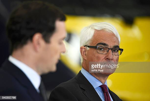 Britain's Chancellor of the Exchequer George Osborne and former Chancellor Alistair Darling attend a proRemain event at the Hitachi Rail Europe plant...