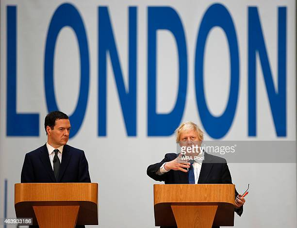 Britain's Chancellor of the Exchequer, George Osborne and London Mayor, Boris Johnson, announce their Long Term Economic Plan for London, at the Tate...