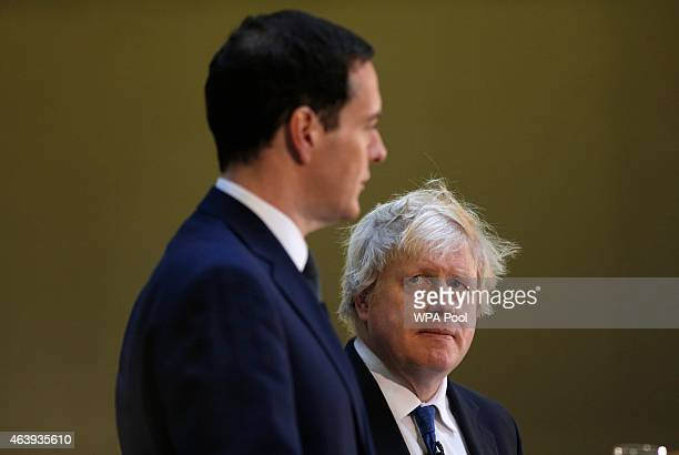 Britain's Chancellor of the Exchequer George Osborne and London Mayor Boris Johnson announce their Long Term Economic Plan for London at the Tate...