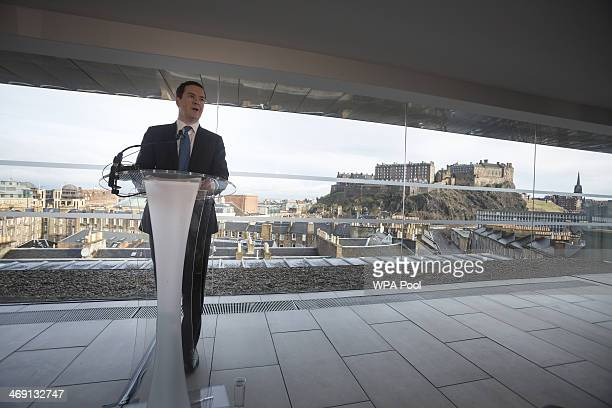 Britain's Chancellor of the Exchequer George Osborne delivers a speech at the Point Hotel on February 13 2014 in Edinburgh Scotland Osborne said that...