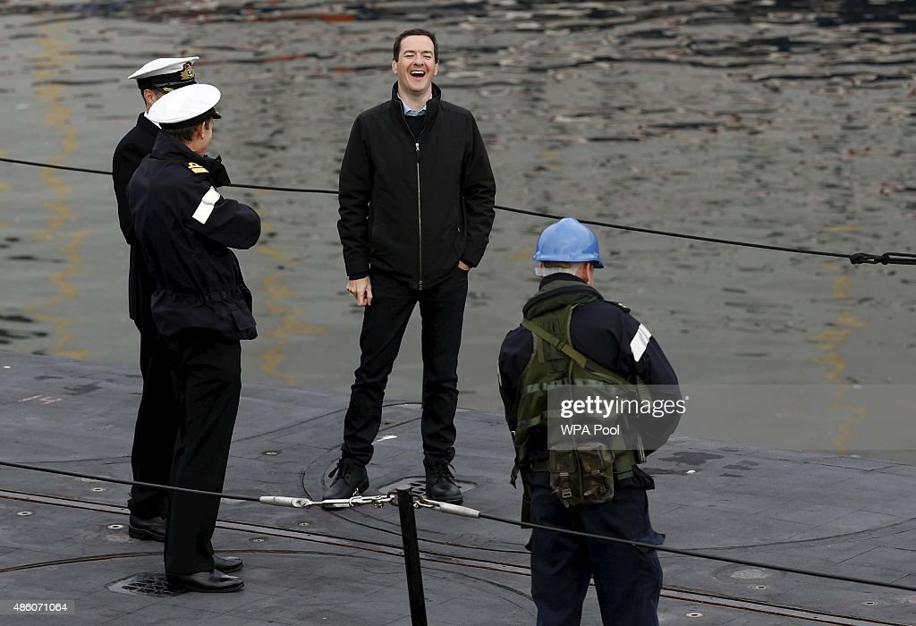 Chancellor George Osborne Visits Royal Navy's Submarine Base At Faslane