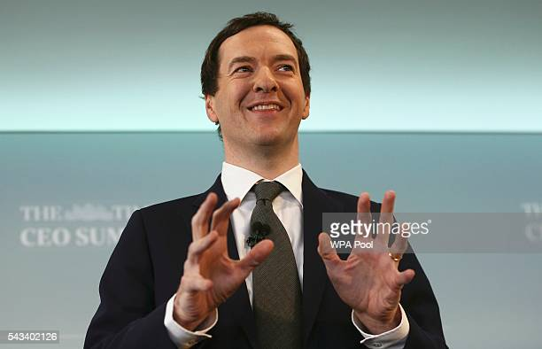 Britain's Chancellor of the Exchequer George Osborne speaks at The Times CEO summit on June 28 2016 in London England
