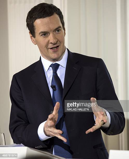 Britain's Chancellor of the Exchequer George Osborne speaks during a pressbriefing on April 7 2015 in London England