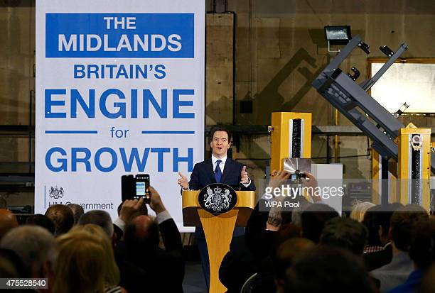 Britain's Chancellor of the Exchequer George Osborne speaks during a visit to Garrandale Ltd on June 1 2015 in Derby England