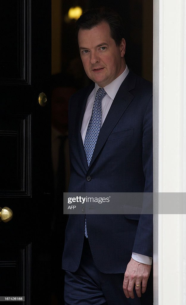 Britain's Chancellor of the exchequer George Osborne walks out of Number 11 Downing st to meet the Chairman of Warner Bros, in central London on April 25, 2013. Britain avoided falling into a third recession since the 2008 global financial crisis after its economy grew by a better-than-expected 0.3 percent in the first quarter compared with the final three months of last year, official data showed on April 25, 2013. In a significant boost to Prime Minister David Cameron's coalition government, gross domestic product (GDP) 'increased by 0.3 percent in Q1 2013 compared with Q4 2012' when the British economy had contracted 0.3 percent, the Office for National Statistics (ONS) said in a preliminary estimate.