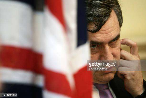 Britain's Chancellor of the Exchequer Gordon Brown listens to Norwegian Prime Minister Jens Stoltenberg during a joint press conference at 11 Downing...