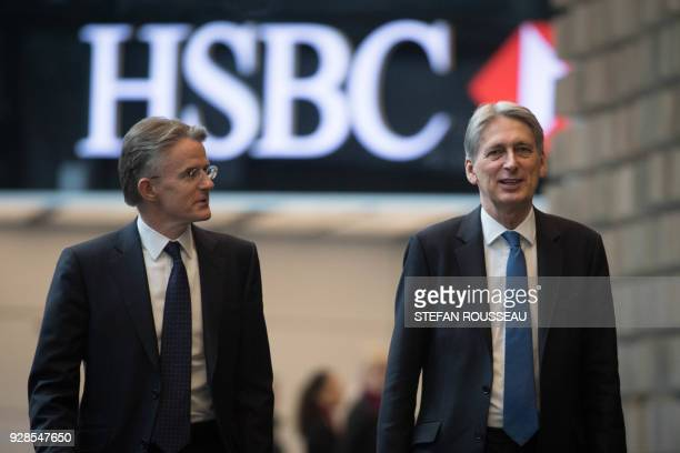Britain's Chancellor of the Exchequer Philip Hammond arrives to deliver a keynote speech on Brexit at HSBC headquarters at Canary Wharf in London on...