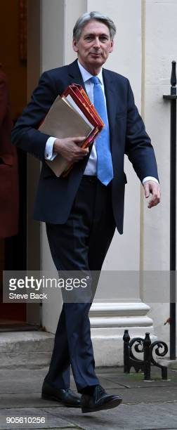 Britain's Chancellor of the Exchequer Philip Hammond leaves No11 Downing Street after todays weekly Cabinet meeting on January 16 2018