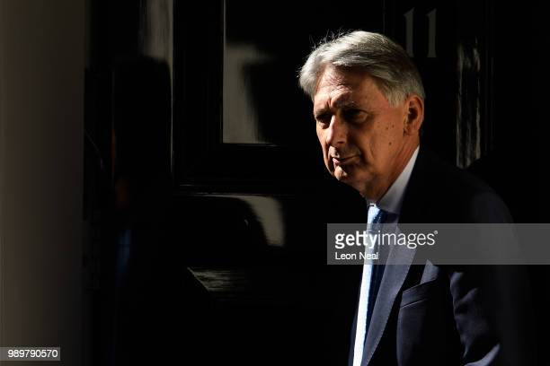 Britain's Chancellor of the Exchequer Philip Hammond leaves number 11 Downing Street on July 2 2018 in London England