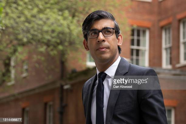 Britain's Chancellor of the Exchequer Rishi Sunak leaves 11 Downing Street on April 26, 2021 in London, England.