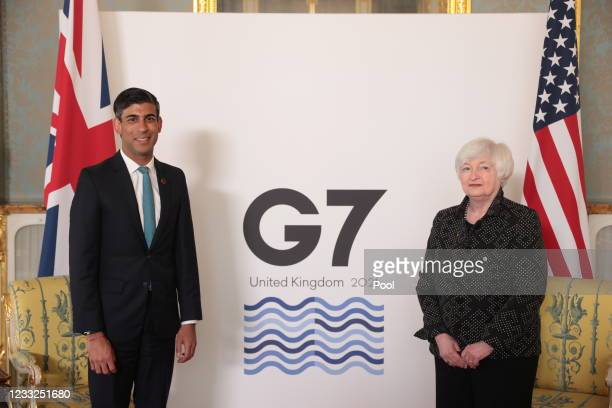 Britain's Chancellor of the Exchequer Rishi Sunak meets with U.S. Treasury Secretary Janet Yellen, on the eve of the G7 Finance Ministers meeting, on...