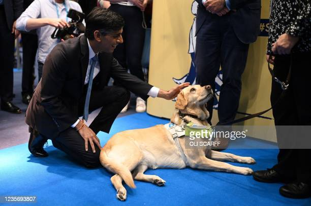 Britain's Chancellor of the Exchequer Rishi Sunak strokes a guide dog as he visits trade stalls in the main conference centre on the second day of...