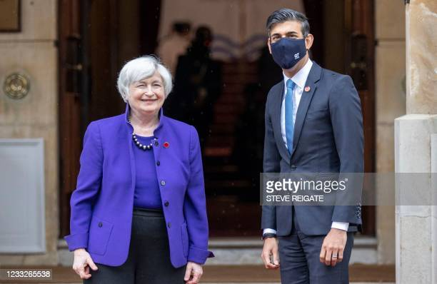 Britain's Chancellor of the Exchequer Rishi Sunak welcomes US Treasury Secretary Janet Yellen to the G7 Finance Ministers Meeting at Lancaster House,...