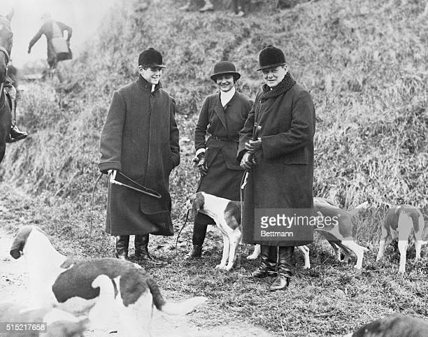 Britain's Chancellor of the Exchequer Winston Churchill enjoys a few days' boar hunting with his son Randolph and Coco Chanel in the forests near...