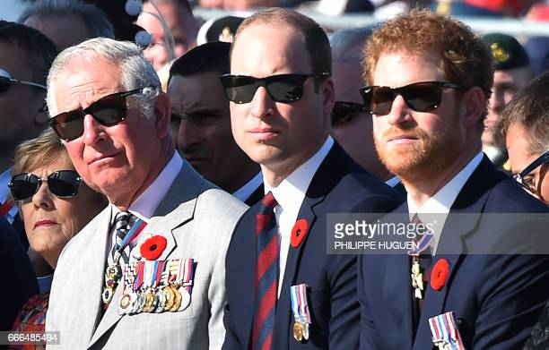 Britain's Charles Prince of Wales Britain's Prince William Duke of Cambridge and Britain's Prince Harry attend a commemoration ceremony at the...