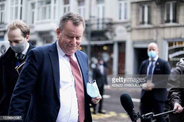 Britain's chief Brexit negotiator David Frost arrives for a meeting with European Commission's head of Task Force for Relations with Britain in...