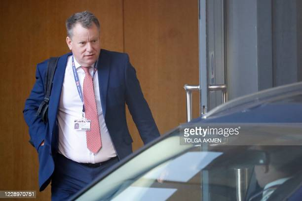Britain's chief Brexit negotiator David Frost leaves a meeting in central London on October 9, 2020.