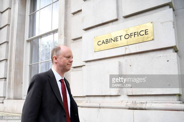 Britain's Chief Medical Officer for England, Chris Whitty arrives at the Cabinet Office on Whitehall in central London on March 2 ahead of an...