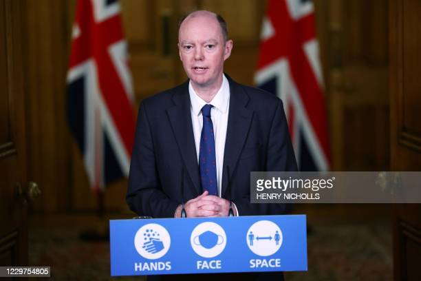 Britain's Chief Medical Officer for England Chris Whitty speaks during a virtual press conference inside 10 Downing Street in central London on...