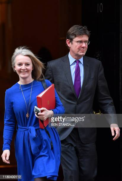 Britain's Chief Secretary to the Treasury Liz Truss and Britain's Business Secretary Greg Clark leaves after attending a Cabinet meeting at 10...