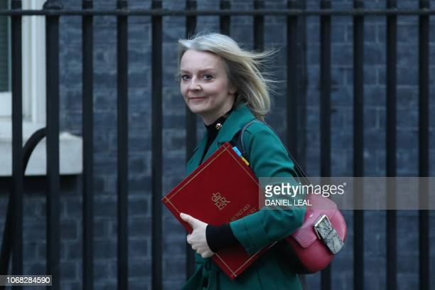 Britain's Chief Secretary to the Treasury Liz Truss attends the weekly meeting of the cabinet at 10 Downing Street in London on December 4 2018