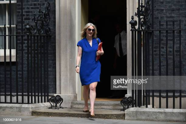 Britain's Chief Secretary to the Treasury Liz Truss leaves Downing Street as he attended the weekly Cabinet Meeting London on July 17 2018 MPs vote...