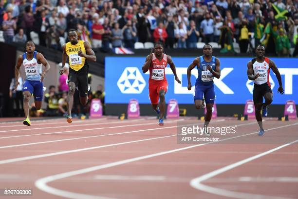 Britain's Chijindu Ujah Jamaica's Usain Bolt Bahrain's Andrew Fisher US athlete Christian Coleman and Turkey's Emre Zafer Barnes compete in the...