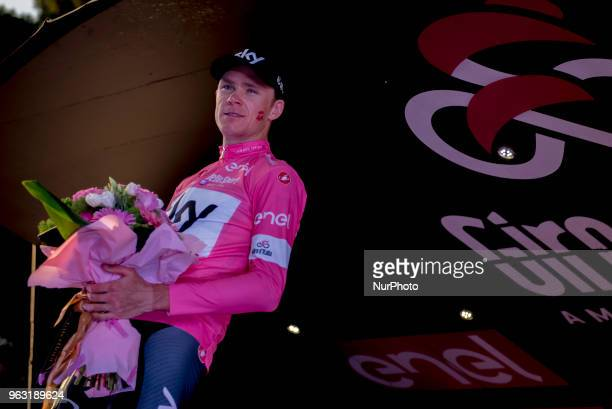 Britain's Chris Froome during the celebretion of the trophy of the Giro d'Italia cycling race in Rome Sunday May 27 2018 Chris Froome has won the...