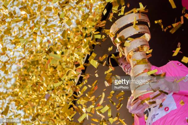 Britain's Chris Froome holds the trophy of the Giro d'Italia cycling race, in Rome, Sunday, May 27, 2018. Chris Froome has won the Giro d'Italia for...