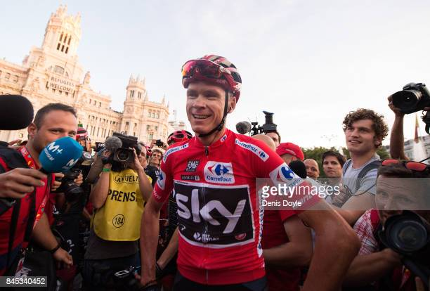 Britain's Chris Froome of Team Sky celebrates after winning the Vuelta a Espana cycling race after the Stage 21 on September 10 2017 in Madrid Spain