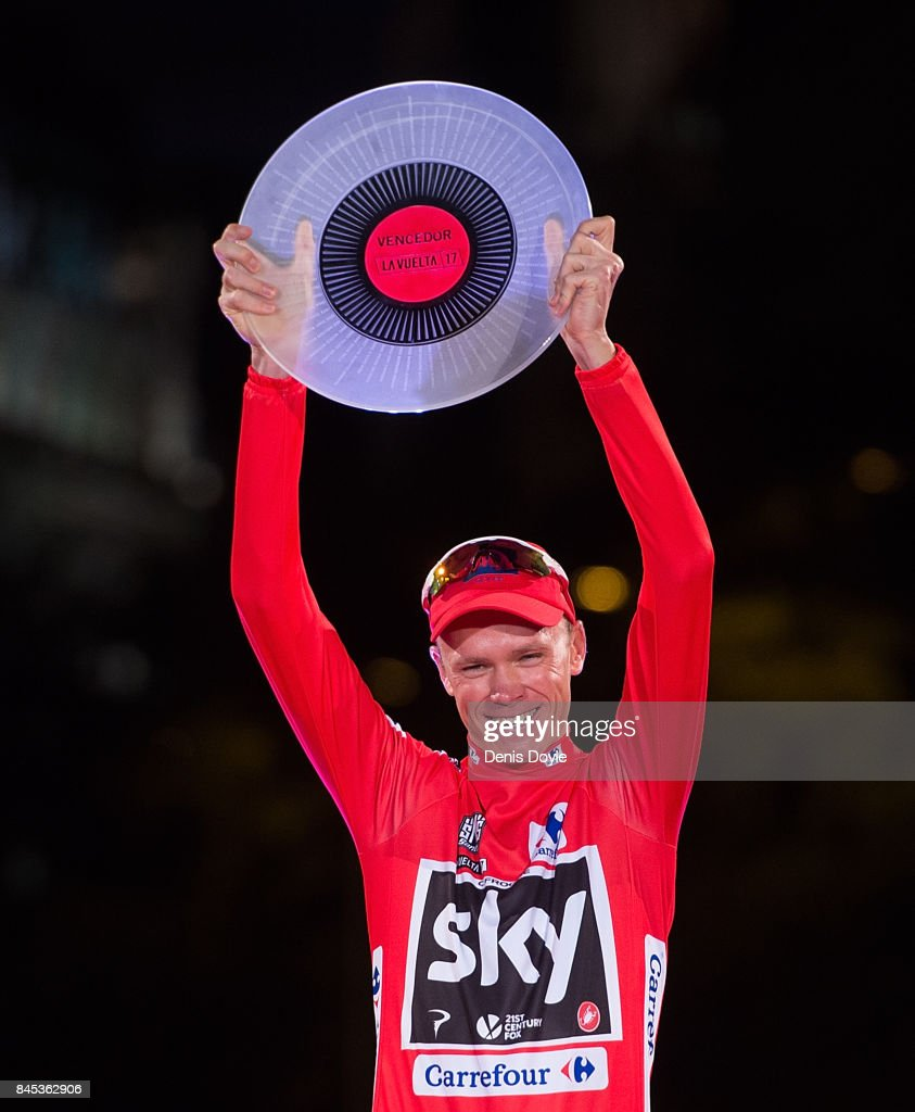 Britain's Chris Froome of Team Sky celebrates on the podium after winning the Vuelta a Espana cycling race after the Stage 21 on September 10, 2017 in Madrid, Spain.