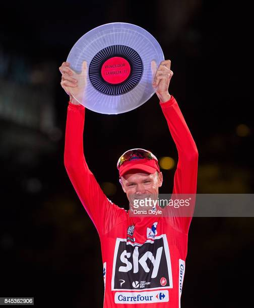 Britain's Chris Froome of Team Sky celebrates on the podium after winning the Vuelta a Espana cycling race after the Stage 21 on September 10, 2017...