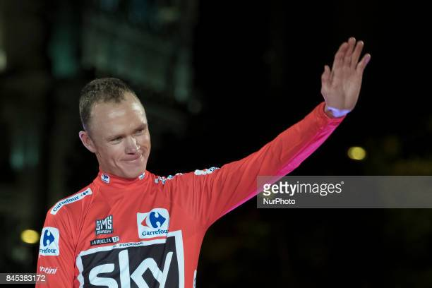 Britain's Chris Froome of Team Sky celebrates on the podium after winning the Vuelta a Espana cycling race after the Stage 21 on September 10 2017 in...