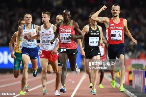 Britain's Chris O'hare, Poland's Marcin Lewandowski, Kenya's Timothy Cheruiyot and Czech Republic's Jakub Holua finish the semi-final of the men's...
