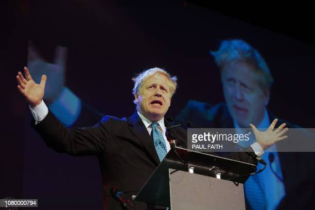 Britain's Conservative MP and former foreign minister Boris Johnson delivers a speech entitled Opportunity in Uncertainty at the Pendulum Summit 2019...