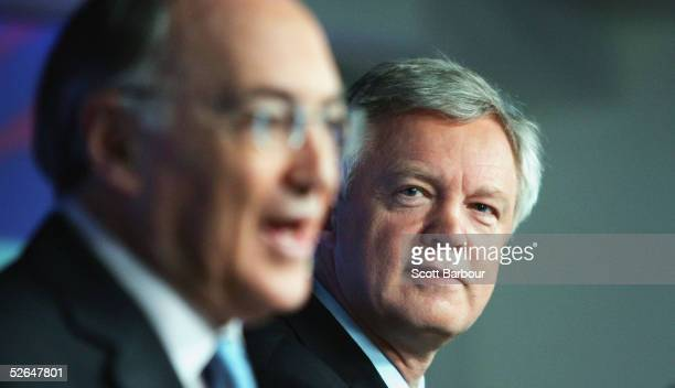 Britain's Conservative party leader Michael Howard speaks alongside Shadow Home Secretary David Davis during a press conference on April 19, 2005 in...