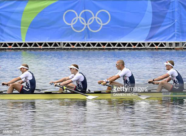 Britain's Constantine Louloudis Britain's George Nash Britain's Mohamed Sbihi and Britain's Alex Gregory row during the Men's Four final rowing...