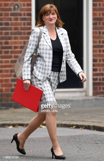 Britain's Culture Secretary Nicky Morgan arrives in Downing Street in central London on September 3 2019 The fate of Brexit hung in the balance on...