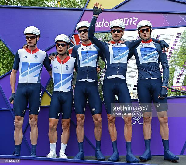 Britain's cyclists Christopher Froome, Mark Cavendish, Ian Stannard, Bradley Wiggins, and David Millar of Team GB pose before the start of men's road...