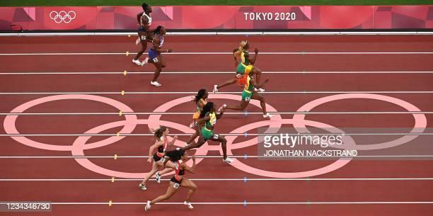 Britain's Daryll Neita, USA's Teahna Daniels, Jamaica's Elaine Thompson-Herah, Jamaica's Shelly-Ann Fraser-Pryce, Ivory Coast's Marie-Josee Ta Lou,...