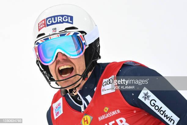 Britain's Dave Ryding competes during the second run of the slalom event during FIS Men's Alpine Ski World Cup in Flachau, Austria, on January 17,...